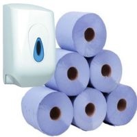 6 Blue Centrefeed Rolls Paper Towels & Dispenser